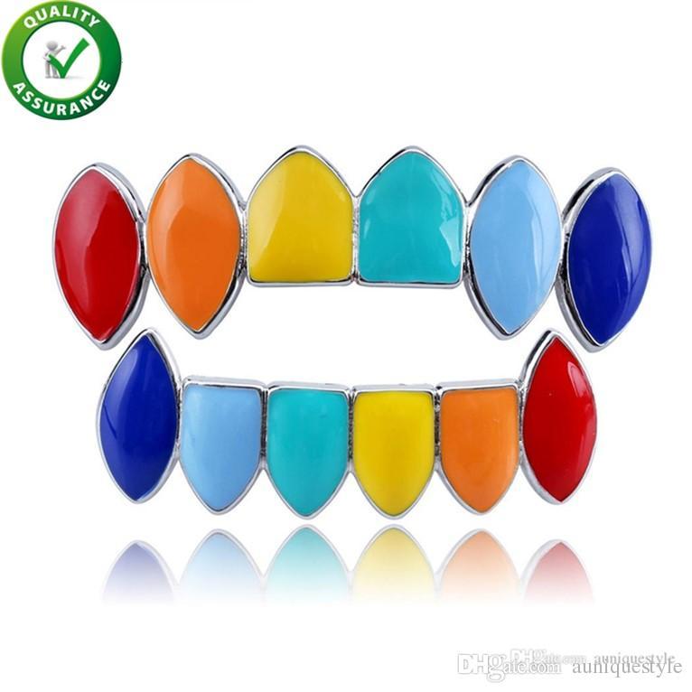 Hip Hop Jewelry Gold Grillz Teeth Top & Bottom Colorful Mens Grills Dental Halloween Vampire Teeth Cap Rainbow Punk Mouth Cosplay Fashion