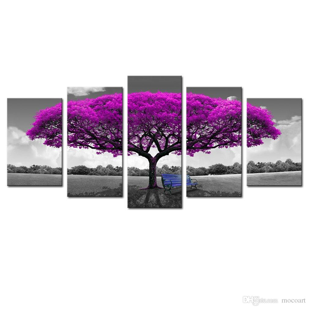 2019 5 panels canvas wall art purple tree picture prints on canvas landscape painting modern giclee artwork stretched and framed ready to hang from