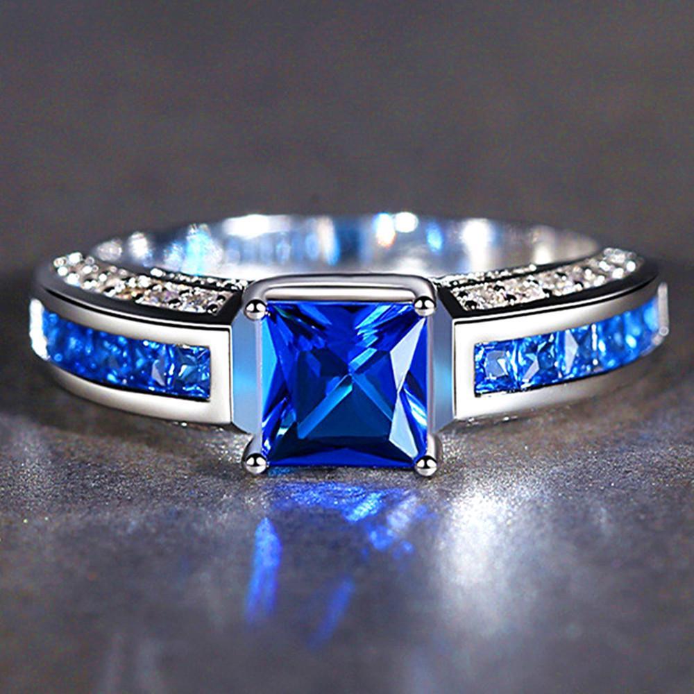 gemme zaffiro quadrati zircone anelli di diamanti per le donne di cristallo blu bianco 18 carati anillos oro argento mujer regalo gioielli bijoux