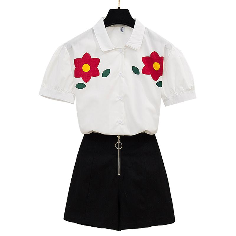 sweet flower printed short sleeve white shirt & black skirt skirts two pcs women summer suits top outfit good quality Hot Sale