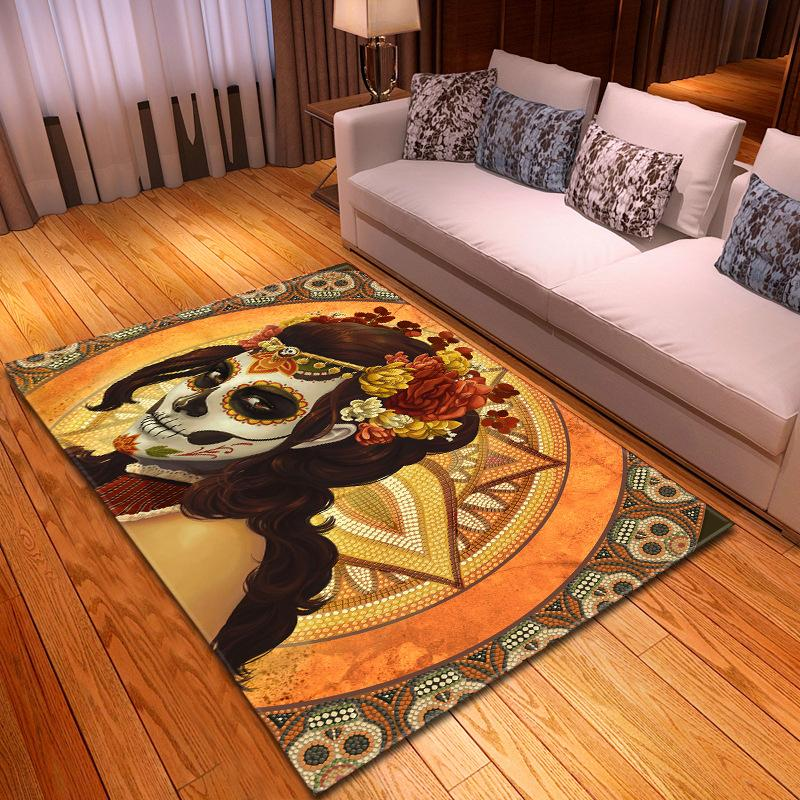 Halloween Party Decor Tappeto Ragazzi in camera stuoia flanella Parlor Tappeti Area Creativa 3D Skull Stampa Tappeti per Living Room Home Decor