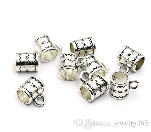 500 teile / los Silber Überzogene Bail Spacer Perlen Charms anhänger Für diy Schmuck, Die entdeckungen 8x6mm