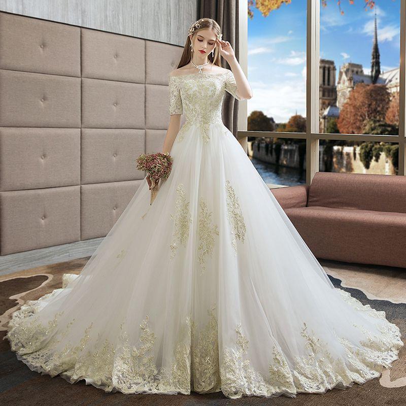 1bc6d4f25882c European style wedding dresses 2018 new bride big yards Korean word  shoulder pregnant women long trailing princess dream show thin