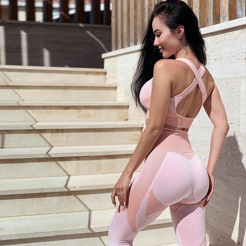 2PCS Seamless Yoga Define ternos do esporte Mulheres Gym roupa da aptidão cintura alta Leggings Cruz Bra Training Voltar executando Sportswear MX200329