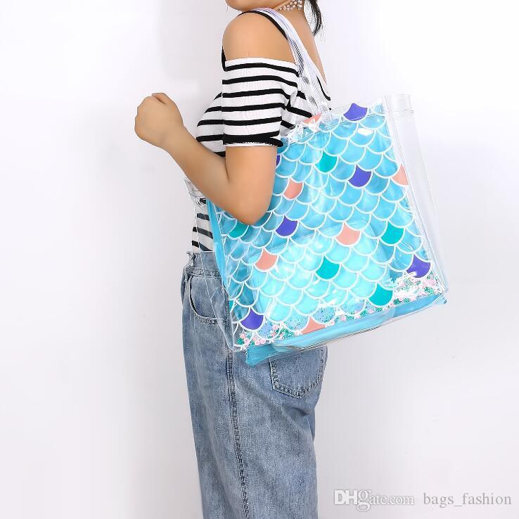 Woman Hologram Transparent Plastic Handbag Mermaid Sequins beach Shoulder bag Women Trend Tote Jelly Fashion PVC Clear Bag Free shipping