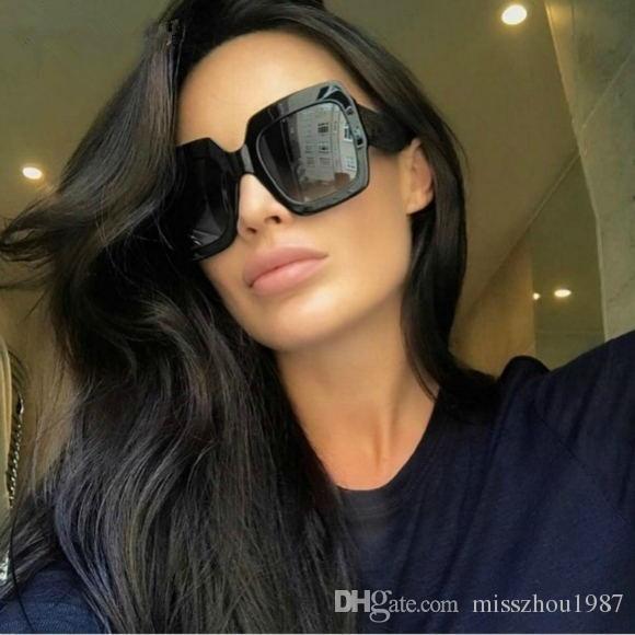 083S 008 54 مم النظارات الشمسية ساحة سوداء كبيرة للمرأة جديد مع مربع العلامات مختلط الألوان بريق التدرج النظارات الشمسية ساحة كبيرة الحجم