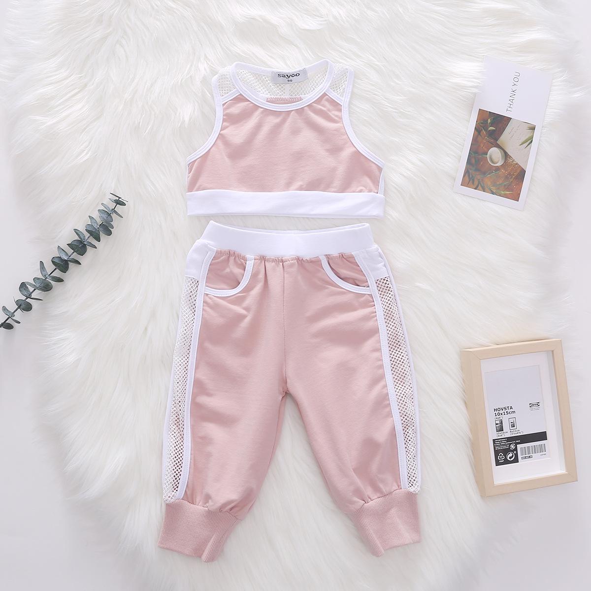 2020 Yeni bebek kız kıyafetler çocuklar yelek üstleri + Nefes rahat spor pantolon 2adet çocuk eğlence setleri örgü oymak A2741