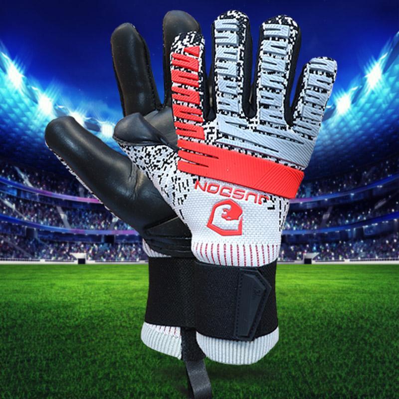 2019 JUSDON guantes de fútbol de la calidad superior de formación competencia guantes de portero de fútbol envío libre sin FingerSave 4 mm de látex con cremallera bolsa