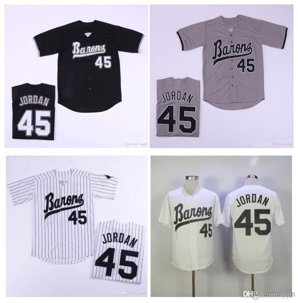 남성 버밍햄 바론 뉴저지 마이클 조엘 단 루키 (45) 화이트 그레이 블랙 100 % 스티치 야구 저지 최고 품질!