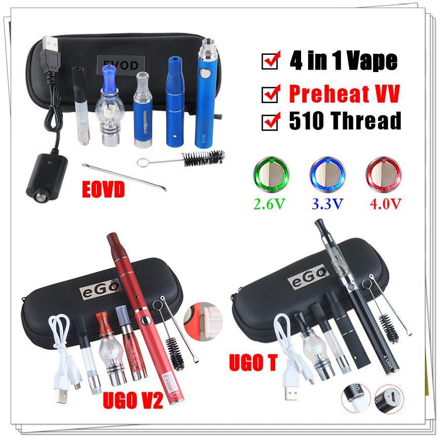 Dab Caneta Cartucho de Vaporizador de Óleo de Cera eVod 4 em 1 Vape Herbal Seco 510 Pré-aqueça a Tensão Ajustável Elétrica VV UGO Micro USB Kit