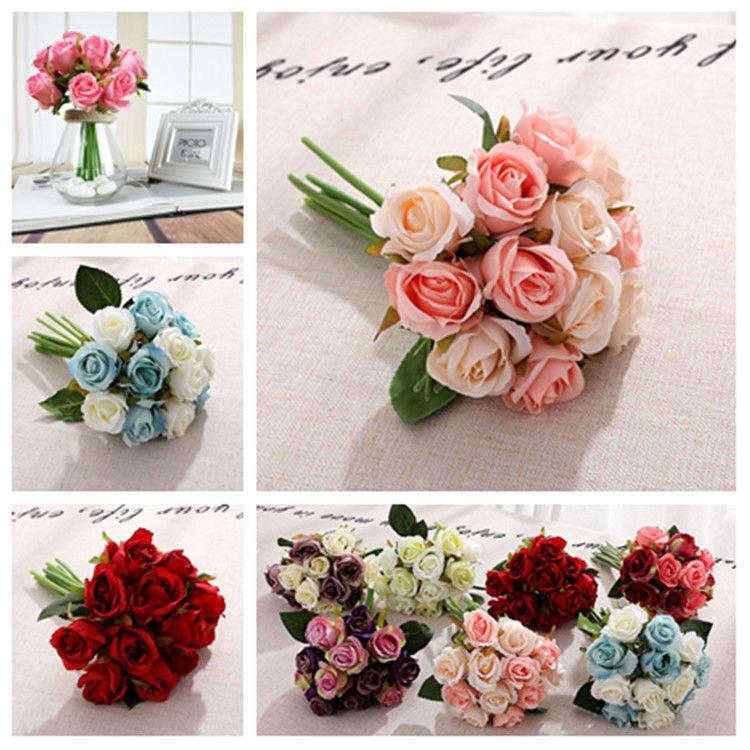 10 style Artificial roses Flower Centerpieces Dress Bride Decorative Flowers Simulation 1lot / 12pcs Party Supplies 20pcsT2I5489