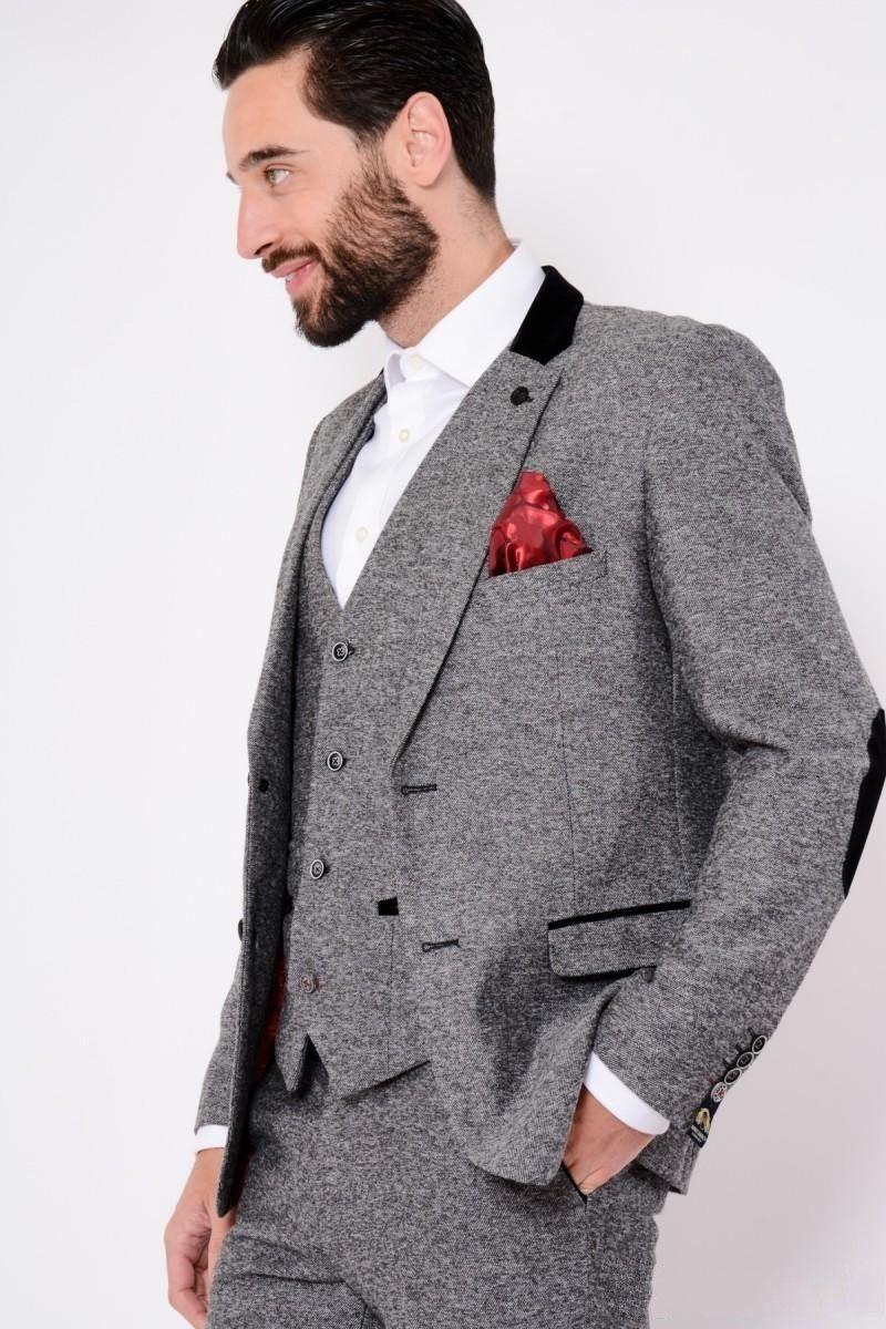2020custom сделал темно-серые мужские костюмы мода высокого качества свадебные костюмы для мужчин зимний теплый жених смокинг для лучшего человека (куртка + жилет + брюки)