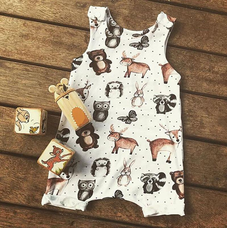 Pudcoco Newborn Baby Boy Girl Clothes Cartoon Animal Print Sleeveless Romper Jumpsuit Cotton Casual Clothes One-pieces