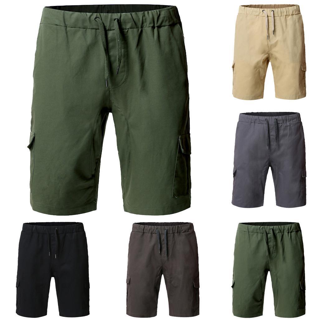 Erkek Şort Adam Plaj Yaz Rahat Kargo Kısa Pantolon Erkekler Düz Renk Spor Cep Sweatpants İpli L0423