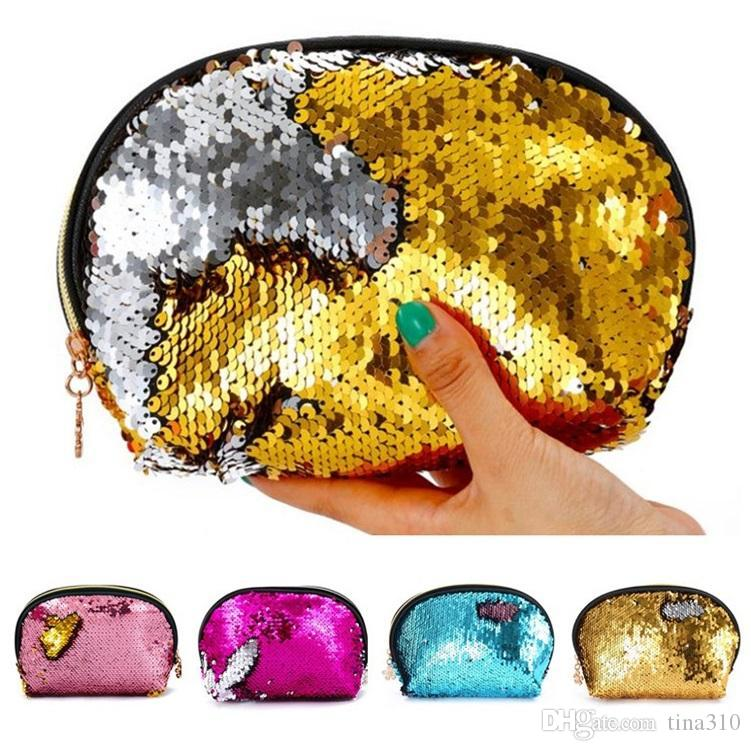 Housekeeping Colorful sequins handbags office supplies bags sequins purse bag pocket storage sequin cosmetic Storage Bags T5D005