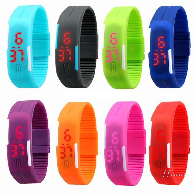 LED-Digital-Screen-Uhr-Gelee-Süßigkeit-Farben-Sport-Uhren Silikon-Armband Wasserdicht Rectangle Paar-Armbanduhr-Armband