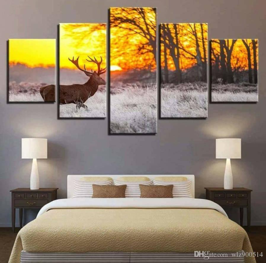 Wall Art picture Deer Animal Africa 5 Panels Wall Art Canvas Paintings Wall Decorations for Home Office Artwork Home Decor