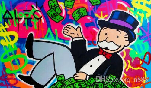 Alec Monopoly Oil Painting On Canvas Graffiti Art Decor Rich Man Money Home Decor Handpainted &HD Print Wall Art Canvas Pictures 191024