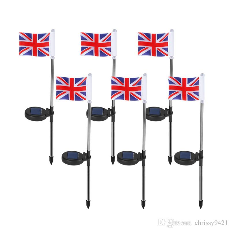 UK Flag Güneş Enerjili Bahçe Stake Işık Birleşik Kimdom Bayrağı Yolu Işıklar Güneş Bayrak Işıklar Metal Pole Hissesini ile