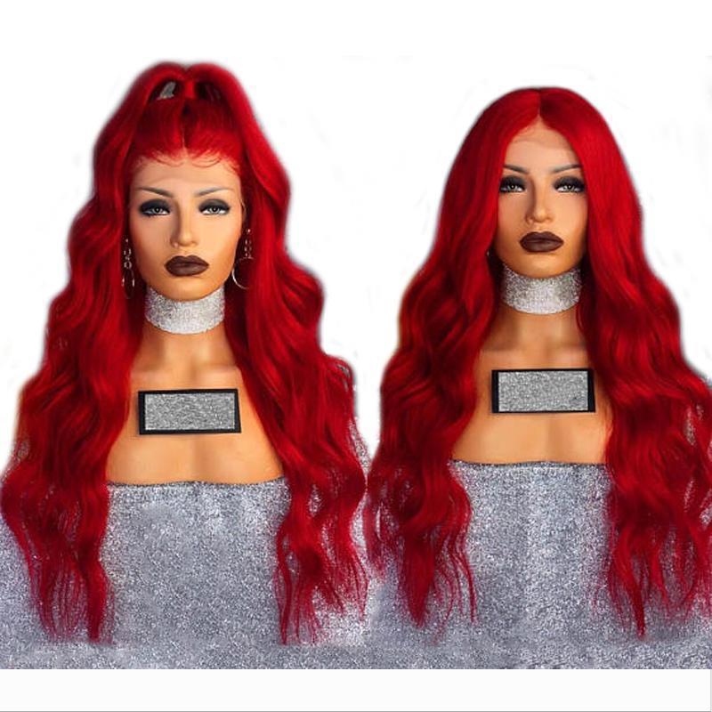 Sexy Cosplay corpo lungo rosso onda parrucca sintetica di Glueless Lace Front parrucche con capelli del bambino 180% Densità fibra termoresistente di parrucche per le donne