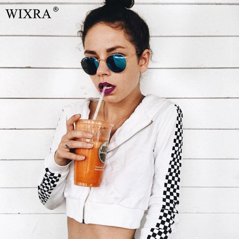 Wixra 2019 İlkbahar Sonbahar Sıcak Yeni Zip-up Kazak Trendy Siyah Beyaz Ekose Kısa Kapşonlu Yüksek Kalite Womens Tops