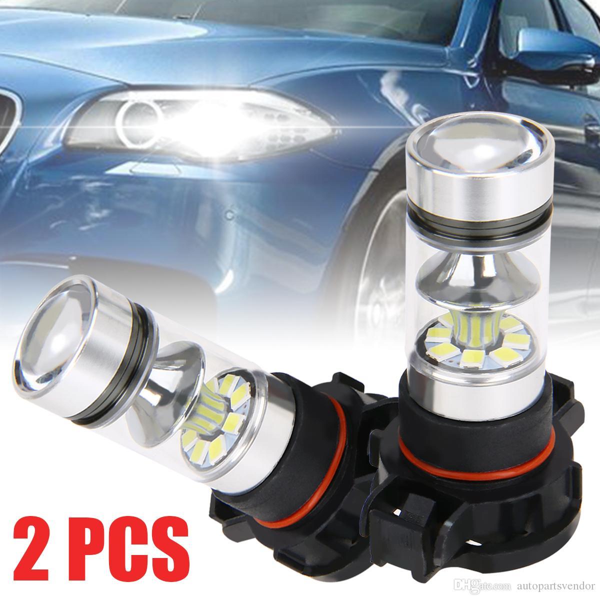 2x 5202 H16 PS24W haute puissance 100w 6000k Super White Led Fog D-rl Lumières Ampoule Day-Durée moto tête de la lampe ampoule blanche