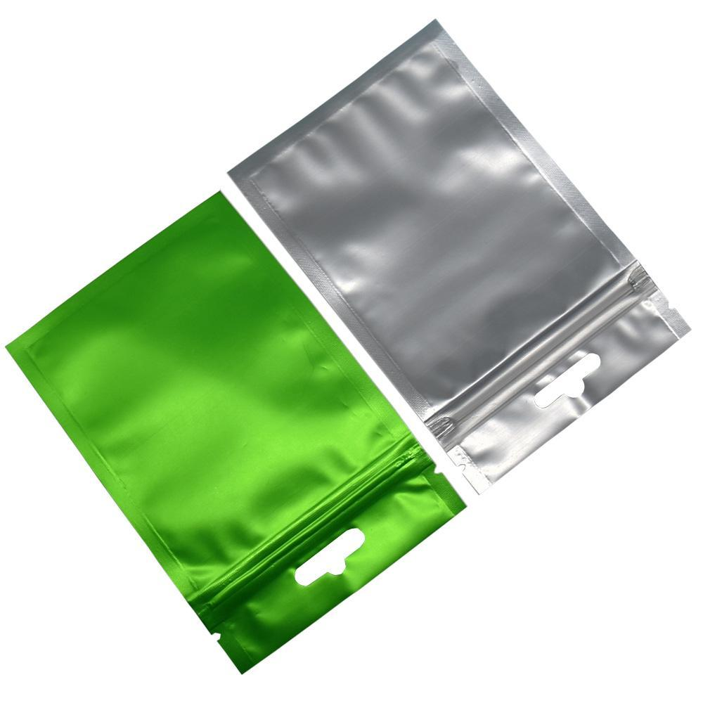 Matte Green Zip Bags Clear Front Resealable Mylar Plastic Pouch for Electronics Accessories Package Bag with Hang Hole