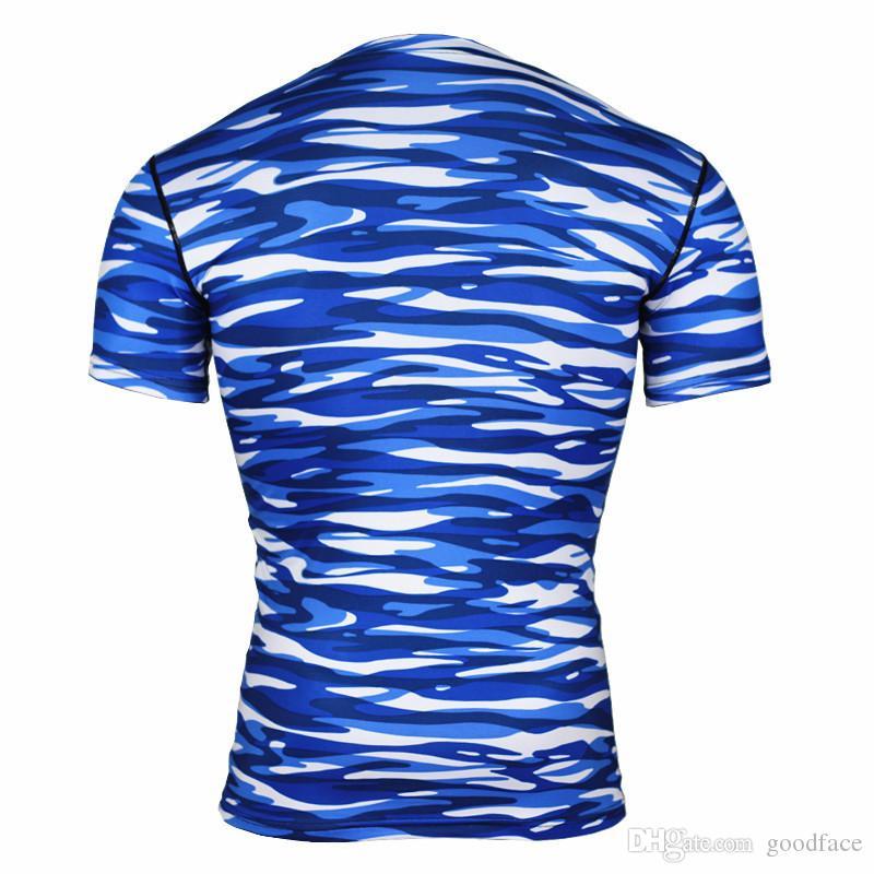 collants de fitness roupas esportivas dos homens frescos ao ar livre suor de absorção de camuflagem terno de basquete de secagem rápida correndo T-shirt por goodface