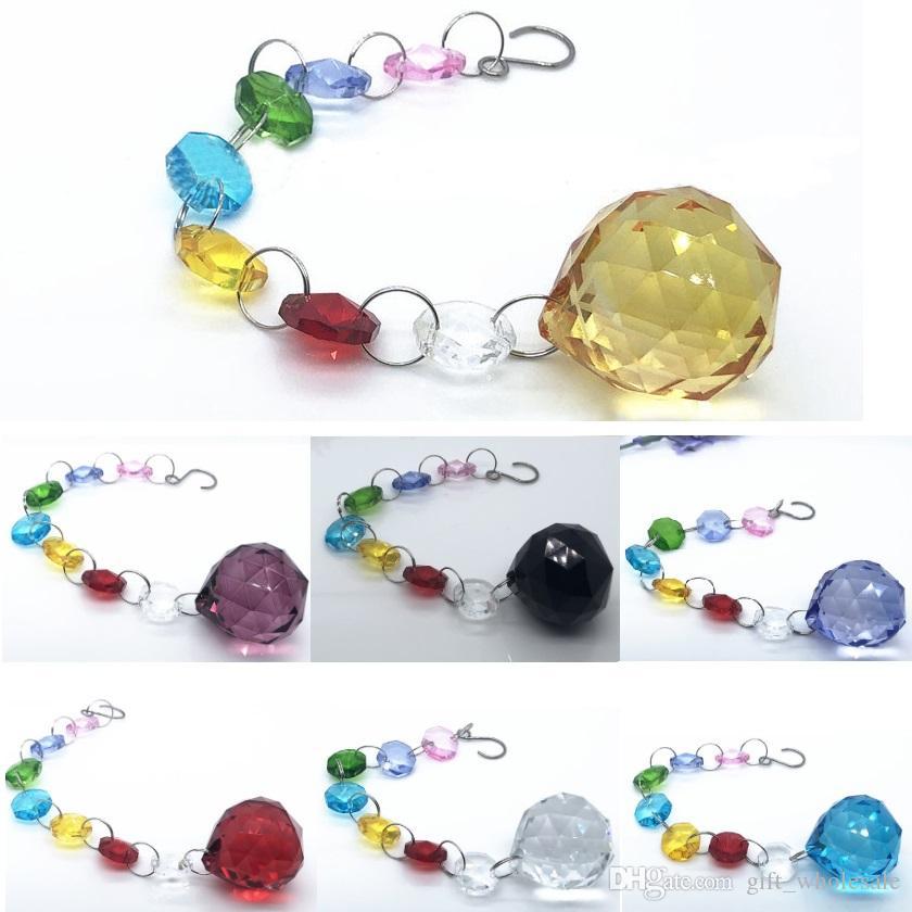 30mm Ball Crystal Suncatcher Hanging Pendant Handmade Ornament Wedding Decor Rainbow Maker Prisms Pendant Feng Shui Christamas Décor