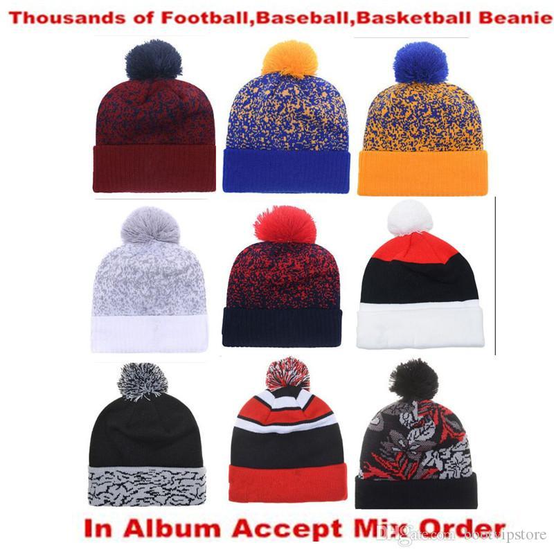 Newest Mens Womens Basketball Beanies Baseball Beanies All Team Football Hats Flat Caps Hip Hop Beanies Sports Hat Accept Mix Order