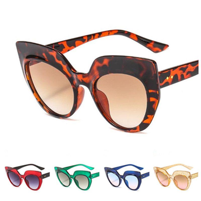 Moda Kadın Güneş Gözlüğü Kedi Göz Güneş Glasse Gözlük Anti-UV Gözlükler Renkli Çerçeve Gözlükler Adumbral A ++