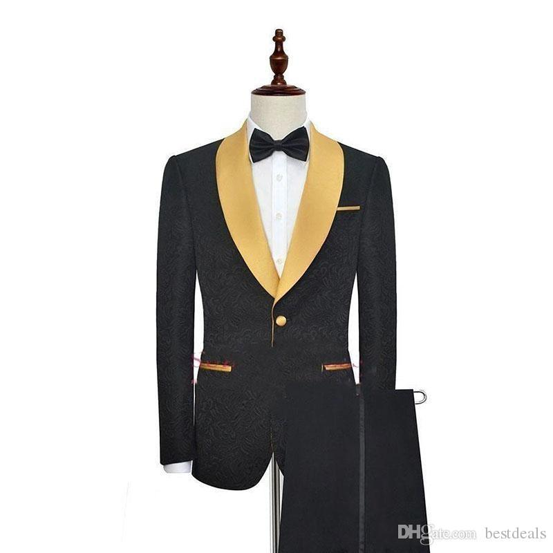 Black With Gold Shawl Lapel One Button Fashion Men Tuxedos For Prom Wear Wedding Evening Party Suit (Blazer+Pants) Custom Made