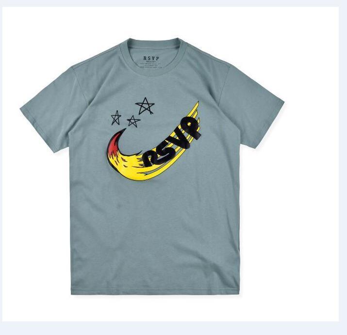 Известные торговые марки Дизайнер Футболка мужская одежда Мужчины Женщины с коротким рукавом пятиконечная звезда Flock печати тройники 9001