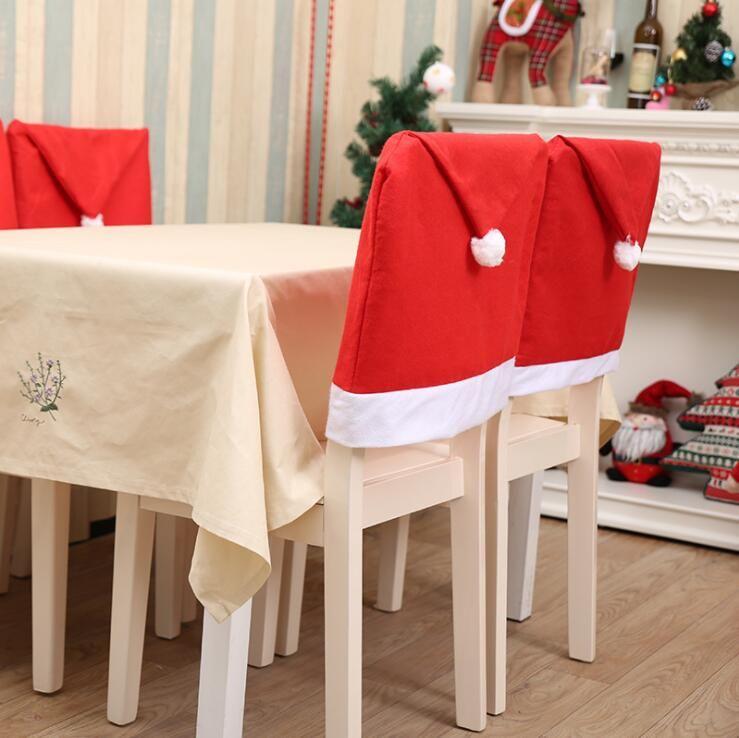 Новогоднее кресло Обложка Стол Украшения Санты Шляпы Нетканые Шляпы Стулья Установите отель Ресторан Столы Праздник LXL638