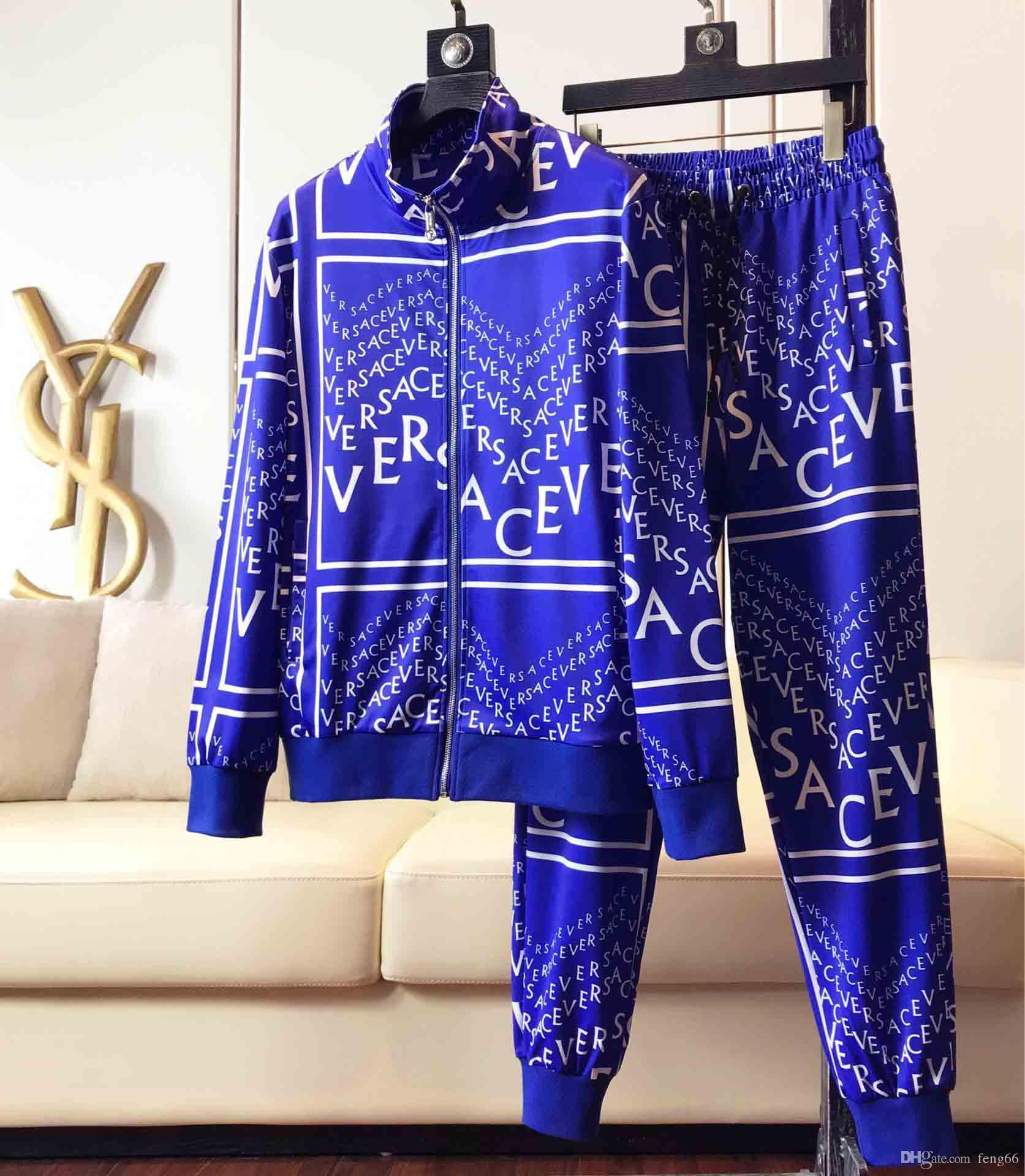 메두사 인쇄 후드 운동복 슬림핏 운동복 남성 긴 소매 재킷 스웨터 정장 조깅 남성의 두 조각
