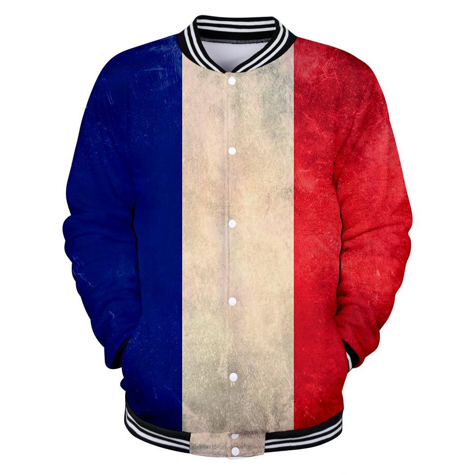Blackday Harajuku National Flag Baseball-Jacke 3D Frankreich Drucken Frühlings-Frauen / Männer 2018 Mode Georgia Mäntel Frauen / Männer Freizeitjacke