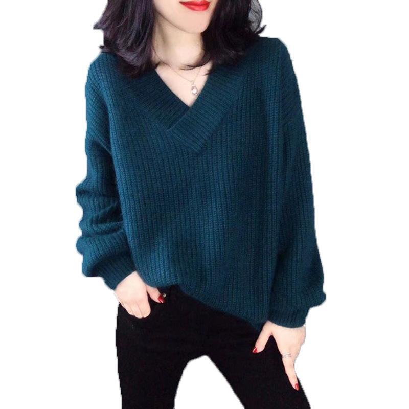Sexy pull en tricot col en V, automne et hiver simple mode pull veste lâche, à manches longues, plus la taille rallye knitwearh0032