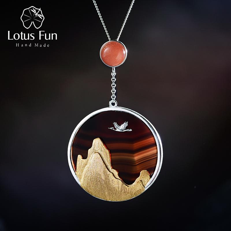 Lotus Fun Real 925 Sterling Silver Natural Gemstone Fine Jewelry Creative Returning Bird In The Sunset Pendant Without Necklace Y19061003