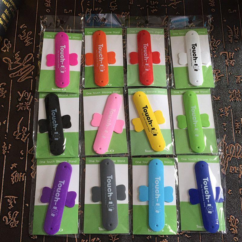 10 цветов Мини сенсорный U силиконовый держатель телефона One Touch U-образный силиконовый держатель стенд Назад наклейка для iPhone Samsung Free DHL