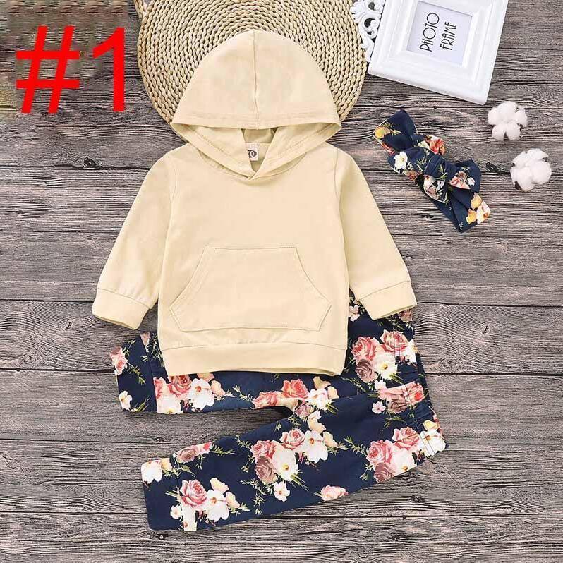 Bebek Kız Karikatür Seti Bebek Kız Katı Uzun Kollu Hoodie Çocuk Tasarımcı Kazak Giyim Bebek Bebek Kıyafetleri Çiçek Pant ile Kafa