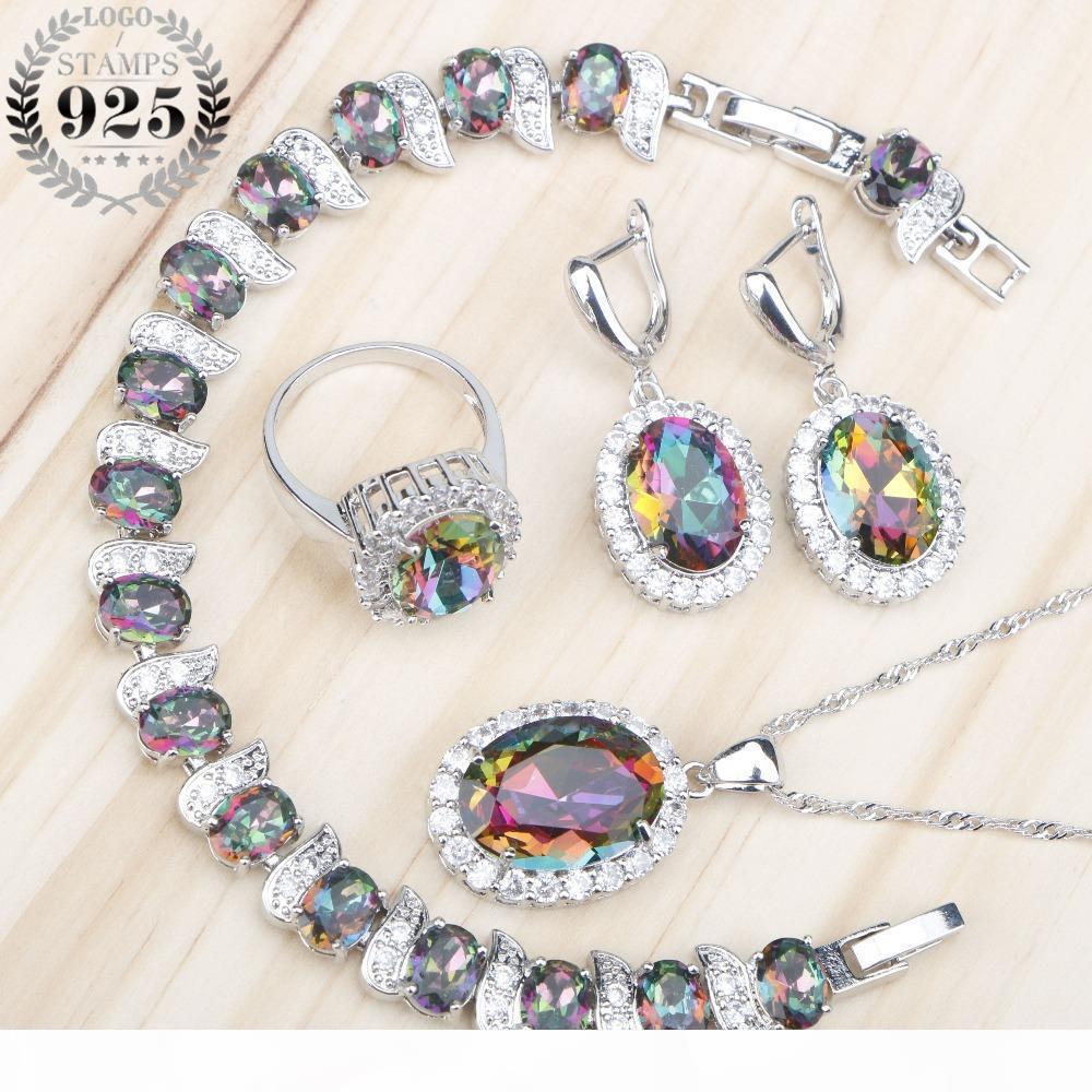 Mystic arco iris circón 925 sistemas de la joyería de plata del traje de novia Mujeres Anillos Pendientes Pulseras Collar del colgante caja de regalo