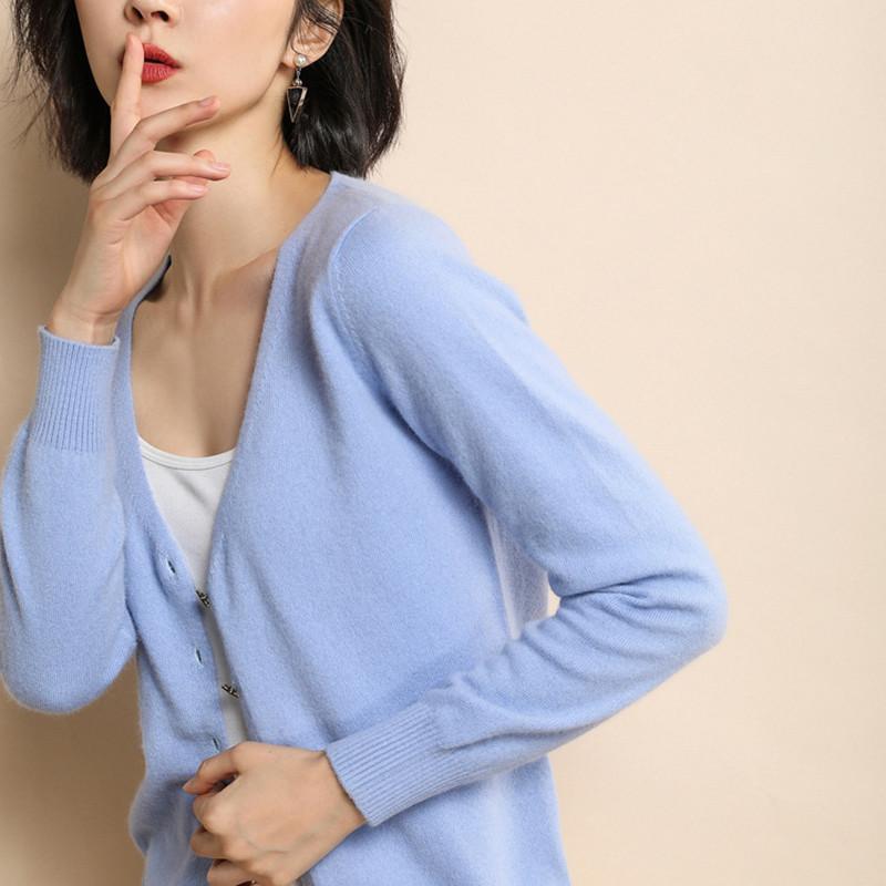 MVLYFLRT 2019 Spring New V-neck Knit Cardigan Solid Color Bottoming Bhirt Slim Long-sleeved Knit Wild Jacket Genuine