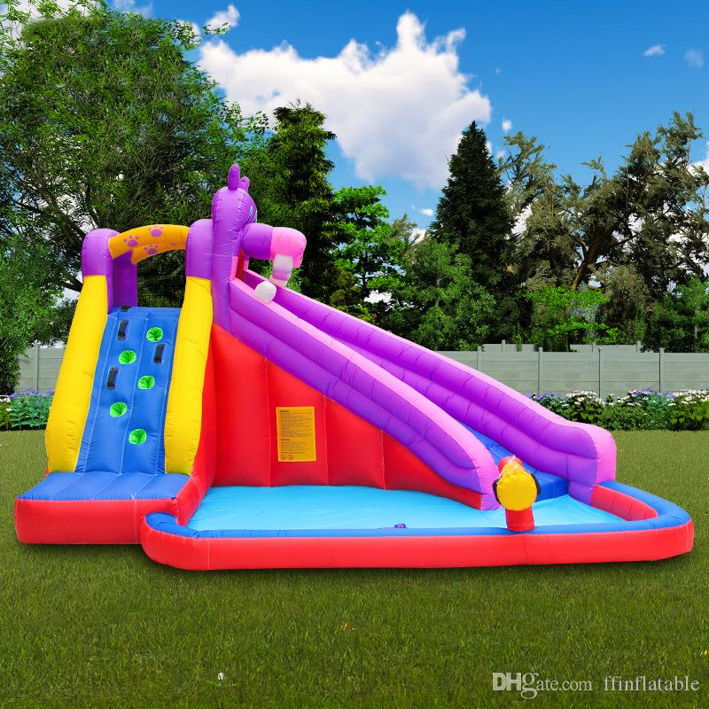 Summer New Large Water Slide Inflatable Swimming Pool Climbing Water Slide Play Pool Foldable Tub Marine Ball Pool with Water Spray Gun