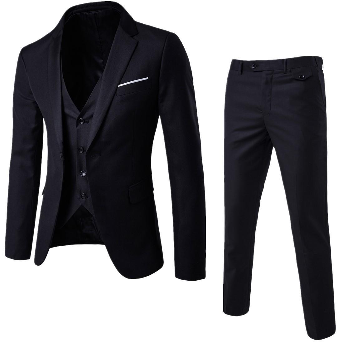 2019 İlkbahar Ve Sonbahar Yeni Stil Seti MEN'S Suit Üç parça Suit İngiltere Slim Fit Evlilik Resmi elbise 4-Renk Büyük Beden Seti M