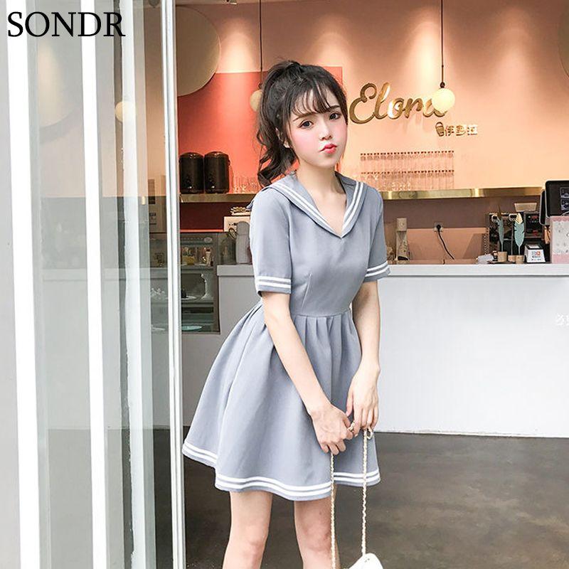 Повседневные платья Япония Kawaii Sweet Soft Seash 2021 летние Mori девушка плиссированные платье с коротким рукавом моряк воротник хлопок Vestidos