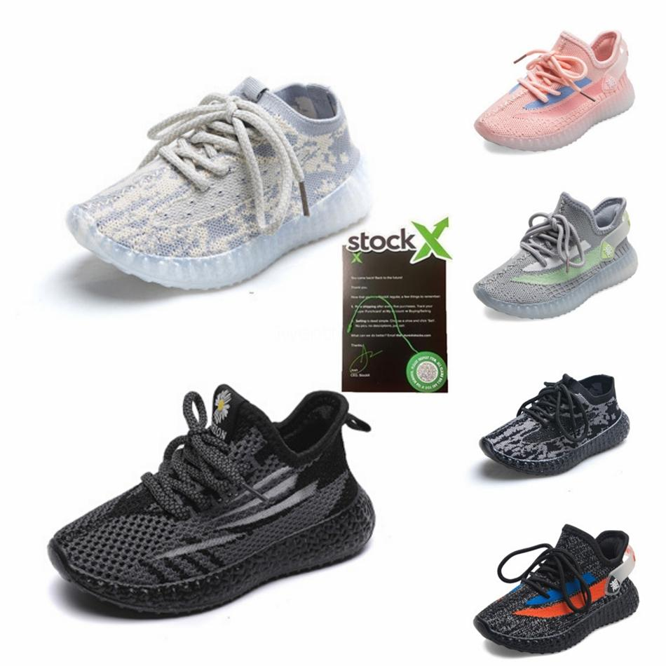Mağaza V2 Bebek Kanye West Ayakkabı Erkek Bebek Kız Küçük Çocuklar Bebek Çocuk Sneakers Lundmark Synth Statik Siyah Ref # 493