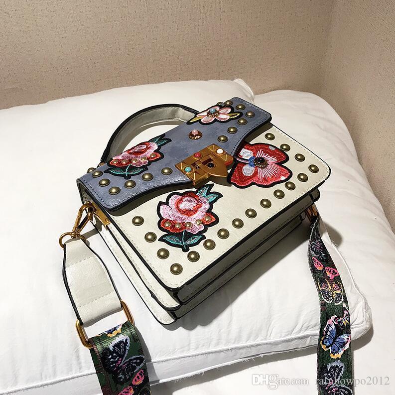 Women Handbag New Contrast Leather Handbag Exquisite Embroidered Shoulder Bag Personalized Embroidered Wide Shoulder Belt Rivet Messenger Ba