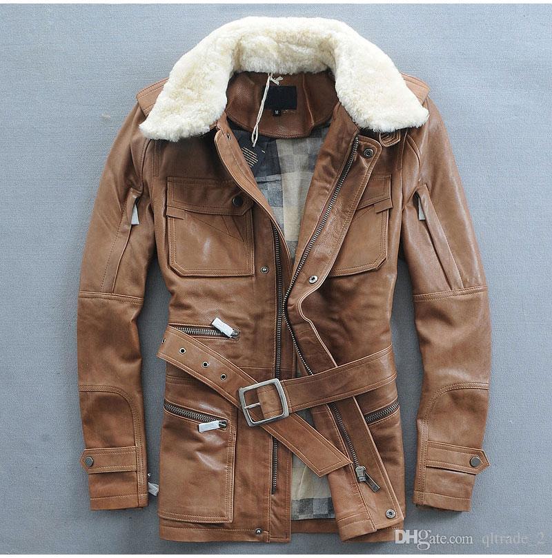 Желто-коричневый меховой воротник ягненка AVFLY кожаные куртки из овчины с поясом Мотоциклетные кожаные куртки на продажу
