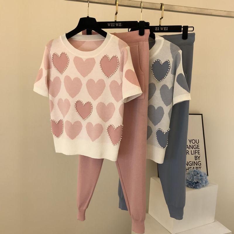 De duas peças casuais das mulheres de malha de manga curta calças primavera e no verão impresso frisado pullover dupla bolso da calça de renda mulheres