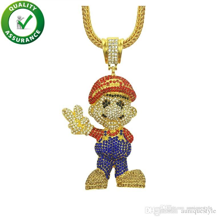 Hip Hop Bling Chains Jewelry Men Iced Out Pendant Luxury Designer Necklace Cartoon Movie Mario Pendants 36inch Cuban Chain Punk Rhinestone
